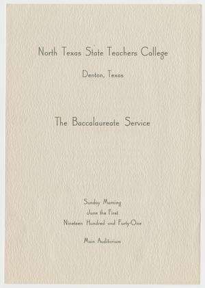 Primary view of object titled '[Commencement Program for North Texas State Teachers College, June 1, 1941]'.
