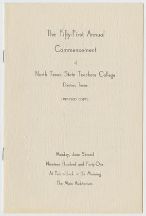 Primary view of object titled '[Commencement Program for North Texas State Teachers College, June 2, 1941]'.