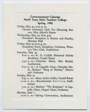 Primary view of object titled '[Commencement Calendar for North Texas State Teachers College, Spring 1942]'.