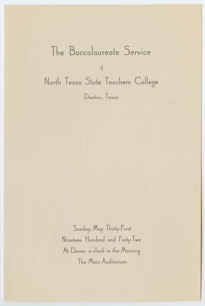 Primary view of object titled '[Commencement Program for North Texas State Teachers College, May 31, 1942]'.