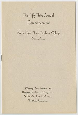 Primary view of object titled '[Commencement Program for North Texas State Teachers College, May 31, 1943]'.