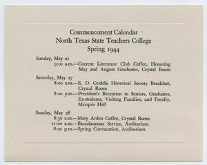 Primary view of object titled '[Commencement Calendar for North Texas State Teachers College, Spring 1944]'.