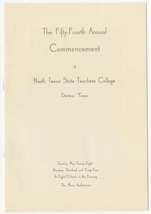 Primary view of object titled '[Commencement Program for North Texas State Teachers College, May 28, 1944]'.