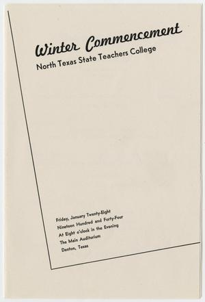 Primary view of object titled '[Commencement Program for the North Texas State Teachers College, January 28, 1944]'.