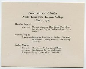 Primary view of object titled '[Commencement Calendar for North Texas State Teachers College, Spring 1945]'.