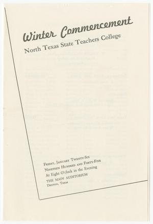 Primary view of object titled '[Commencement Program for North Texas State Teachers College, January 26, 1945]'.