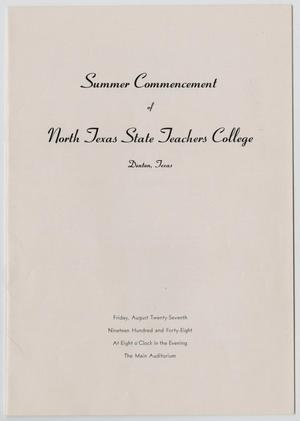 Primary view of object titled '[Commencement Program for North Texas State Teachers College, August 27, 1948]'.