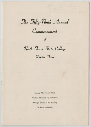 Primary view of object titled '[Commencement Program for North Texas State College, May 29, 1949]'.