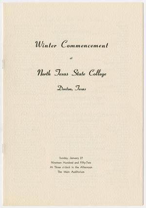 Primary view of object titled '[Commencement Program for North Texas State College, January 27, 1952]'.