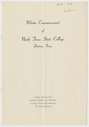 Primary view of object titled '[Commencement Program for North Texas State College, February 1, 1953]'.