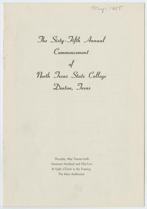 Primary view of object titled '[Commencement Program for North Texas State College, May 26, 1955]'.