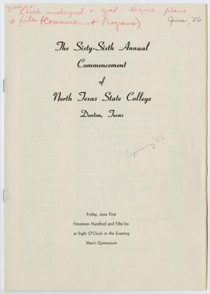 Primary view of object titled '[Commencement Program for North Texas State College, June 1, 1956]'.