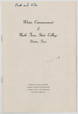 Primary view of object titled '[Commencement Program for North Texas State College, January 30, 1957]'.