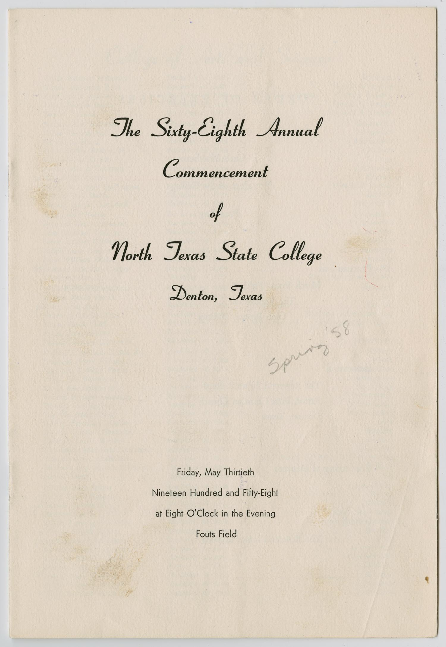 [Commencement Program for North Texas State College, May 30, 1958]                                                                                                      [Sequence #]: 1 of 7
