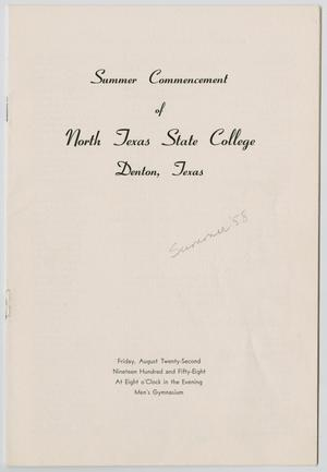 Primary view of object titled '[Commencement Program  for North Texas State College, August 22, 1958]'.