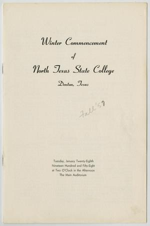 Primary view of object titled '[Commencement Program for North Texas State College, January 28, 1958]'.