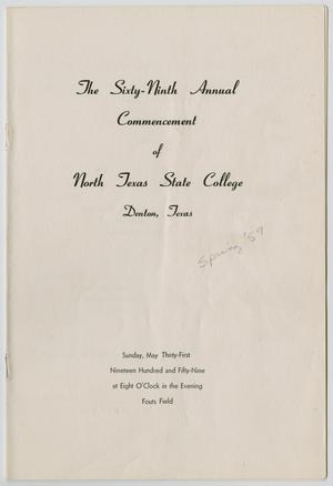 Primary view of object titled '[Commencement Program for North Texas State College, May 31, 1959]'.