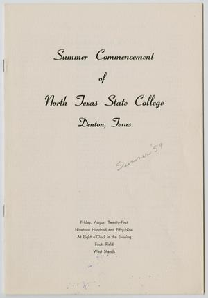 Primary view of object titled '[Commencement Program for North Texas State College, August 21, 1959]'.