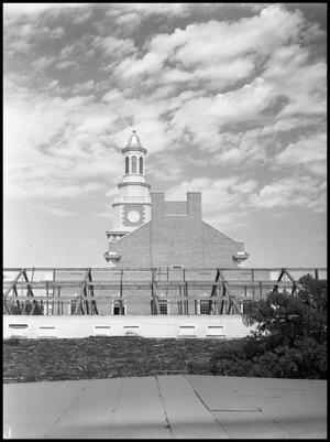 Primary view of object titled '[Administration Building under construction at North Texas State College (#5)]'.