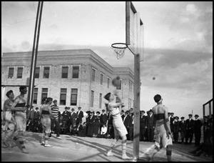 Primary view of object titled '[Basketball Game #4- Men - Outdoors - NTSN vs TU - 1914]'.