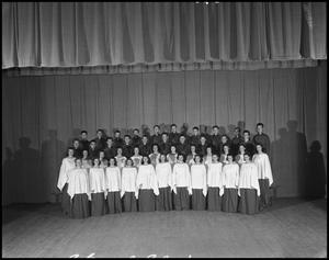 Primary view of object titled '[A Capella Choir on Stage, 1942]'.
