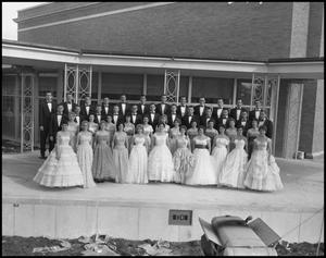 Primary view of object titled '[A Capella Choir Posing for a Photograph on an Outside Stage, November 1960 #5]'.