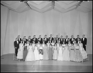 Primary view of object titled '[A Capella Choir Posing on Stage for a Photograph, December 4, 1961 #1]'.