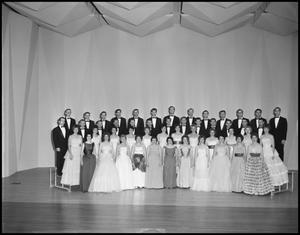 Primary view of object titled '[A Capella Choir Posing on Stage for a Photograph, December 4, 1961 #3]'.