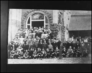 Primary view of object titled '[Class Posing Outside on Campus Grounds #2]'.
