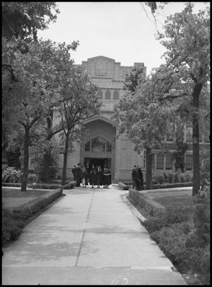 Primary view of object titled '[Commencement - Administration Building #4 - 1950]'.