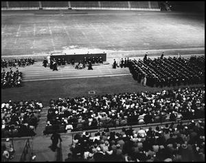 Primary view of object titled '[Commencement - Fout's Field - Audience's Perspective - 1961]'.