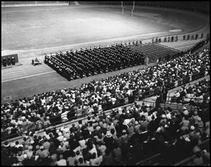 Primary view of object titled '[Commencement - 1961 - Fout's Field - Opening Ceremony]'.