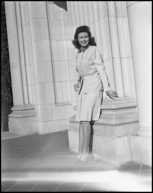 Primary view of object titled '[Campus Photoshoot of Bessie G. Cooper with Columns]'.