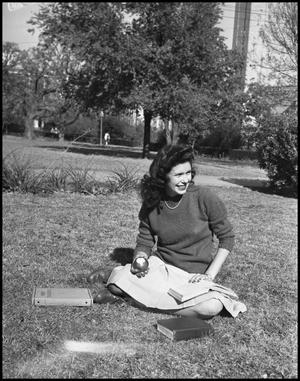 Primary view of object titled '[Cookie Cooper Sitting in a Park]'.