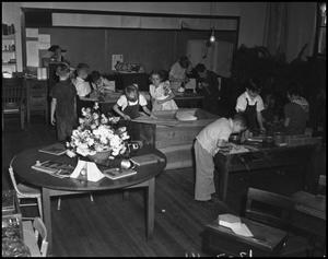 Primary view of object titled '[Elementary students in carpentry class]'.