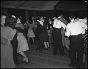 Primary view of object titled '[Students Dancing at the Duchess of May Fete Informal Dance, 1942]'.