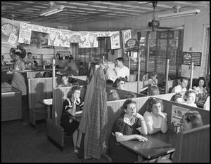 Primary view of object titled '[Students Eating at Dyche's Corner Restaurant, 1942]'.
