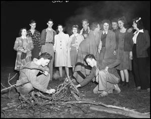 Primary view of object titled '[Students Starting Fire]'.
