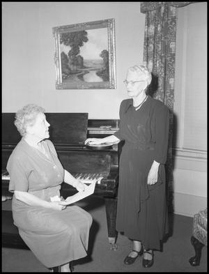 Primary view of object titled '[Singing Elderly Females during Festival of 20th Century Music, 1952]'.
