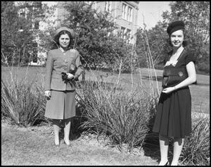 Primary view of object titled '[Female Students Outside on Campus Grounds]'.