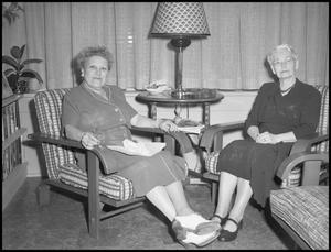 Primary view of object titled '[Elderly Females during  the Festival of 20th Century Music, 1952]'.