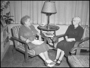 Primary view of object titled '[Two Elderly Women, Festival of 20th Century Music]'.