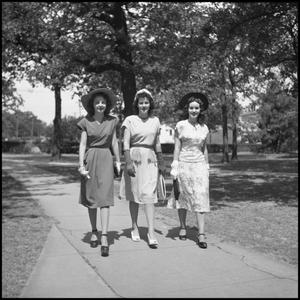 Primary view of object titled '[Lou Love, Winona Ball, and Linda Barbe Outside]'.