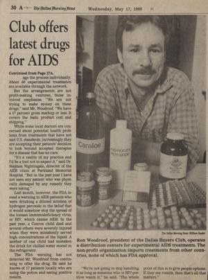 Newspaper with the title Club Offers Latest Drugs For AIDS on the left side. On the right side of most of the page is a picture of a man with a mustache and plaid shirt on, with different bottles and pills in front of him.