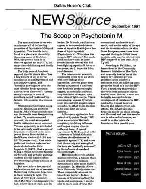 White page with three columns of words. It is titled The Scoop on Psychotonin M. The date is September 1991