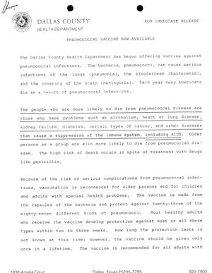 White page with black typed letters. The Dallas County logo is on the top left. Two black dots are at the top. One sentence in the second out of 3 paragraphs is underlined.