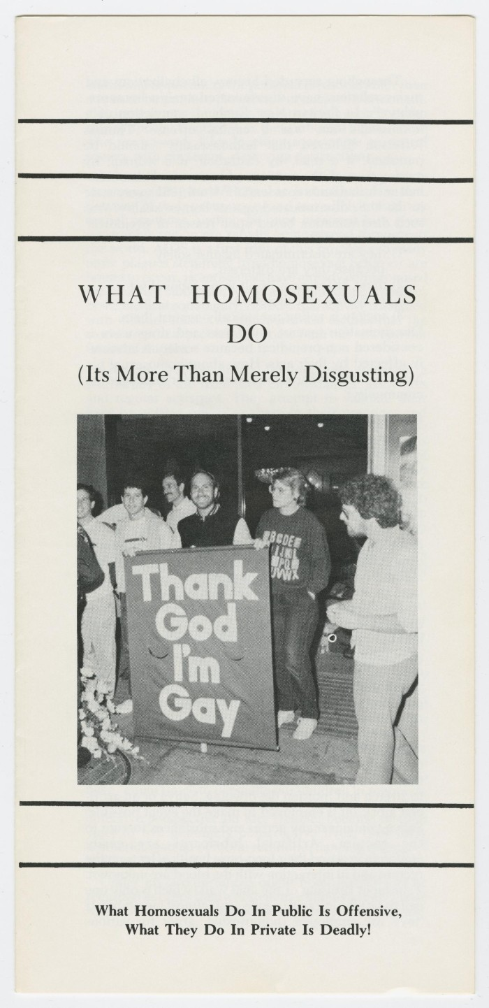 Primary view of object titled 'What Homosexuals Do (It's More Than Merely  Disgusting)