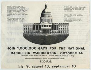White flyer with black and white graphic of the Capitol building in the  middle. Two paragraphs are on each side of it. A statement calling people  to join the march is under th graphic, with the date at the bottom.