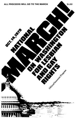 White page with all black letters. The title for the 1979 National March is in big bold letters diagonally across the entire page, from the bottom left corner to the top right corner. A graphic of part of the capitol building is seen in the bottom left corner
