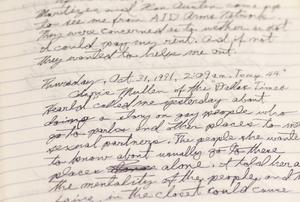 Close up of a handwritten journal entry done with pen. It starts with the date, Thursday October 31st, 1991. 2:09am.